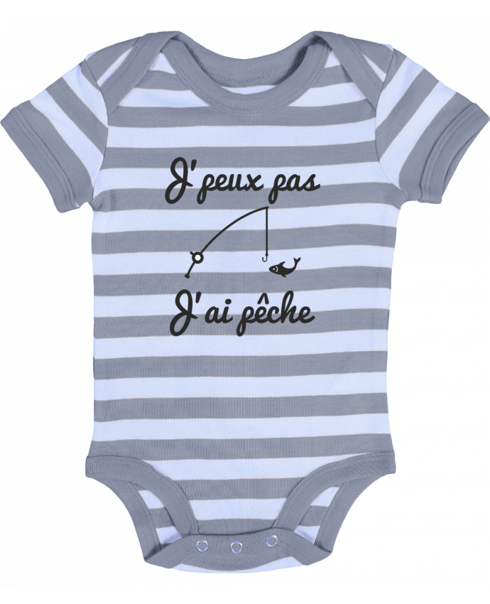 Body Bébé à Rayures J'peux pas j'ai pêche,tee shirt pécheur,pêcheur - Benichan