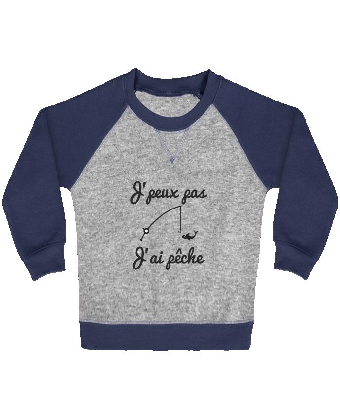 Sweat Shirt Bébé Col Rond Manches Raglan Contrastées J'peux pas j'ai pêche,tee shirt pécheur,pêcheur par Benichan