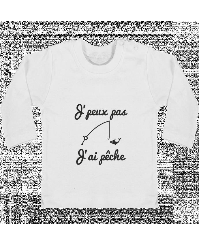 T-shirt Bébé Manches Longues Boutons Pression J'peux pas j'ai pêche,tee shirt pécheur,pêcheur manches longues du designer Benichan