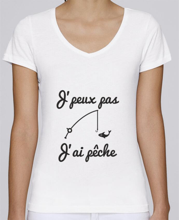T-shirt Femme Col V Stella Chooses J'peux pas j'ai pêche,tee shirt pécheur,pêcheur par Benichan
