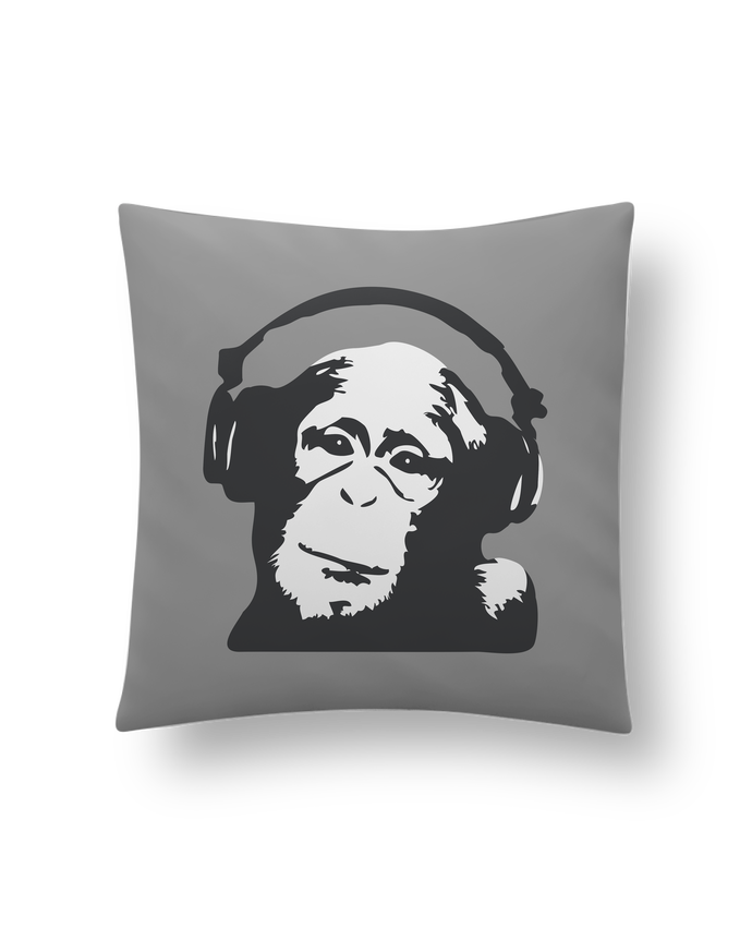 Coussin Synthétique Doux 41 x 41 cm DJ monkey par justsayin