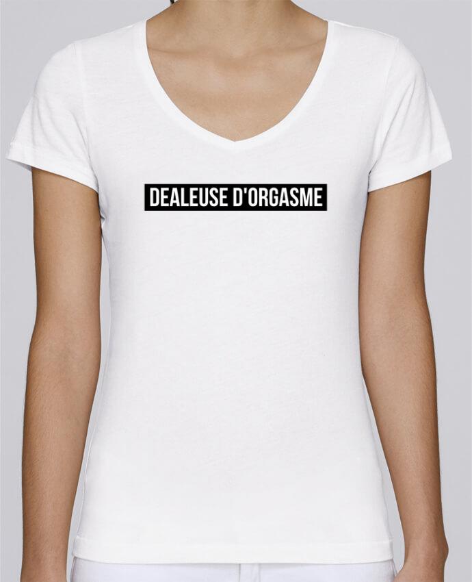 T-shirt Femme Col V Stella Chooses Dealeuse d'orgasme par tunetoo