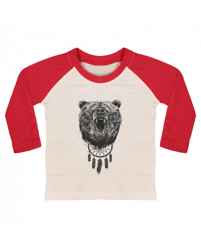 T-shirt Bébé Baseball Manches Longues Angry bear with antlers par Balàzs Solti