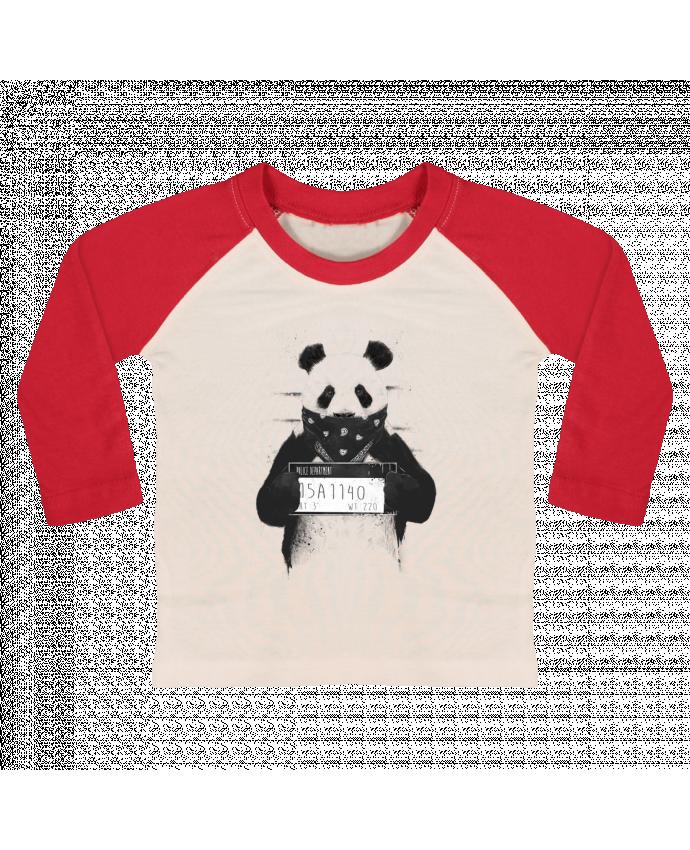 T-shirt Bébé Baseball Manches Longues Bad panda par Balàzs Solti