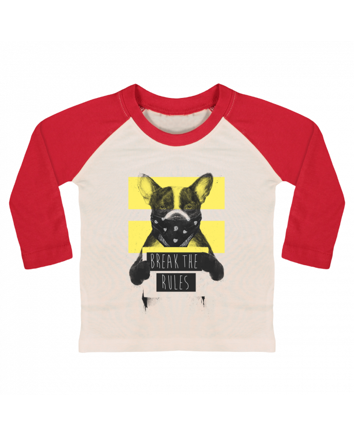 T-shirt Bébé Baseball Manches Longues rebel_dog_yellow par Balàzs Solti