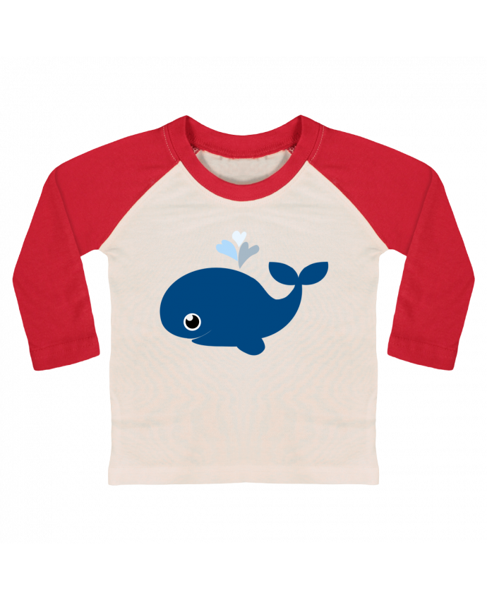 T-shirt Bébé Baseball Manches Longues Baleine coeur par WBang