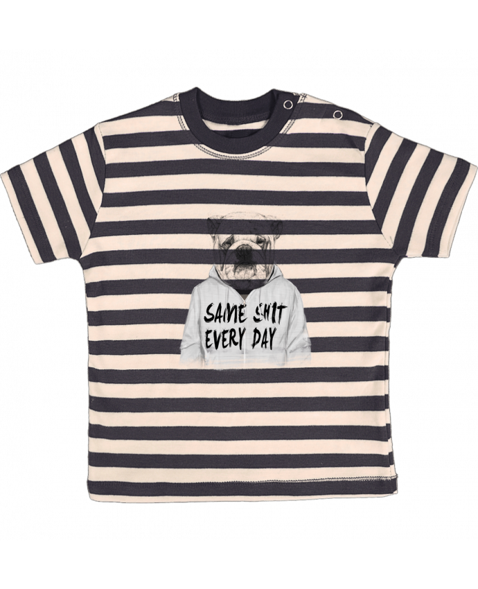 Tee-shirt bébé à rayures Same shit every day par Balàzs Solti