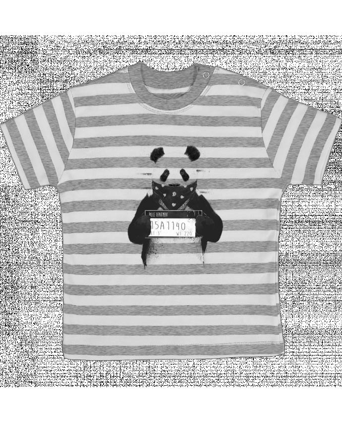 T-shirt Bébé à Rayures Bad panda par Balàzs Solti