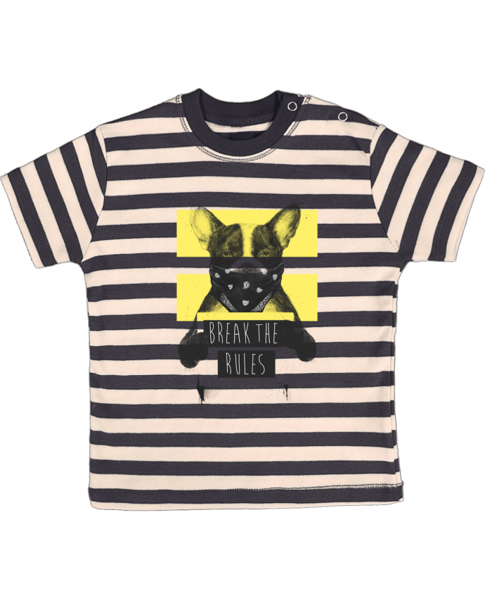 Tee-shirt bébé à rayures rebel_dog_yellow par Balàzs Solti