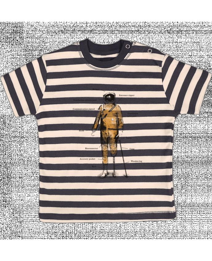 T-shirt Bébé à Rayures Astropirate with text par Florent Bodart