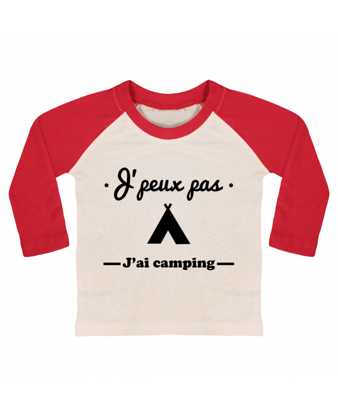 T-shirt Bébé Baseball Manches Longues J'peux pas j'ai camping par Benichan