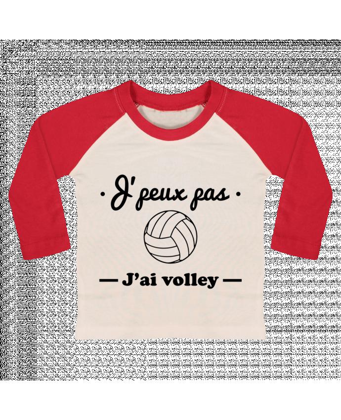 T-shirt Bébé Baseball Manches Longues J'peux pas j'ai volley , volleyball, volley-ball par Benichan