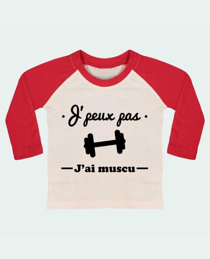 T-shirt Bébé Baseball Manches Longues J'peux pas j'ai muscu, musculation par Benichan