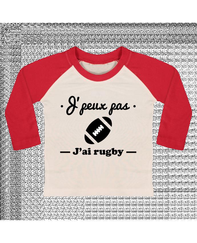 T-shirt Bébé Baseball Manches Longues J'peux pas j'ai rugby par Benichan