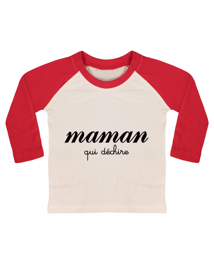 T-shirt Bébé Baseball Manches Longues Maman qui déchire par Freeyourshirt.com
