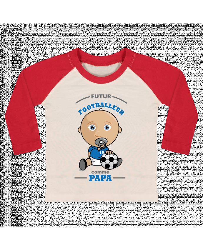 T-shirt Bébé Baseball Manches Longues Futur Footballeur comme papa par GraphiCK-Kids