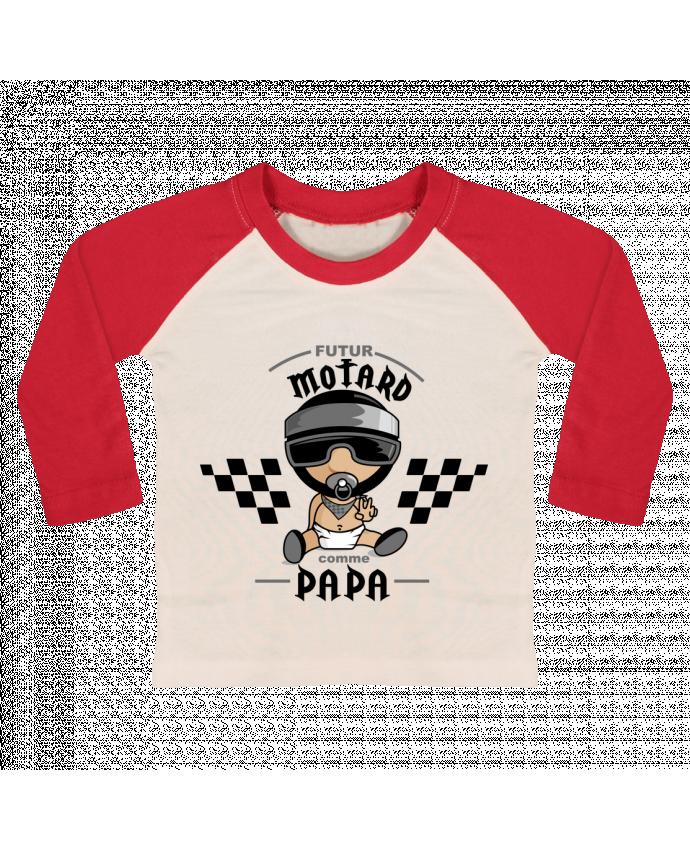 T-shirt Bébé Baseball Manches Longues Futur Motard Comme Papa par GraphiCK-Kids
