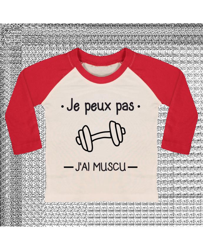 T-shirt Bébé Baseball Manches Longues Je peux pas j'ai muscu, musculation par Benichan
