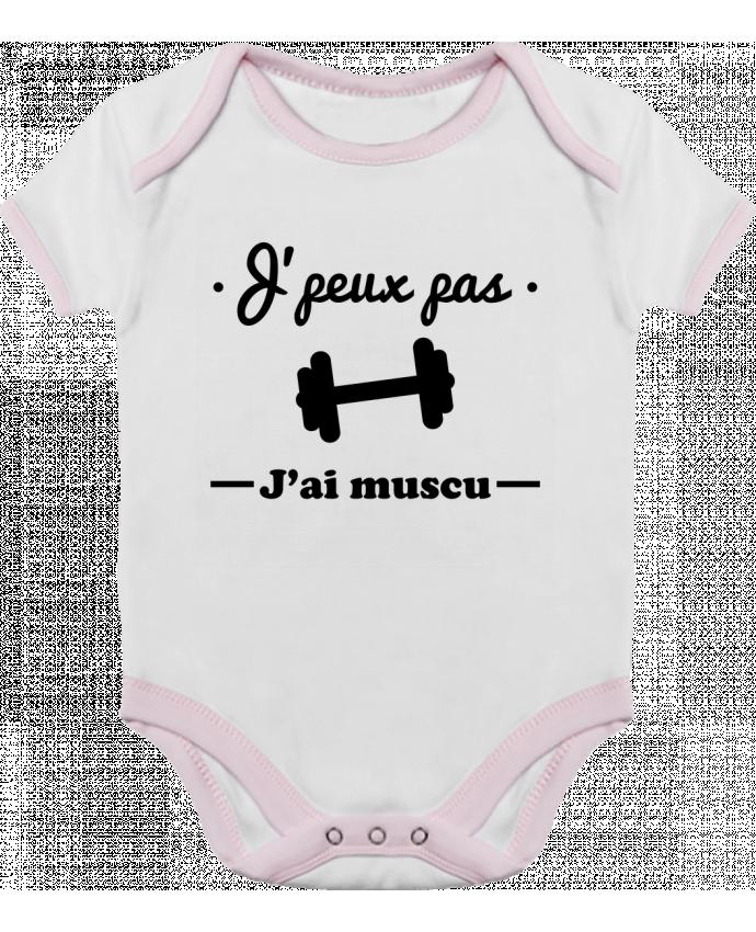 Body Bébé Contrasté J'peux pas j'ai muscu, musculation par Benichan