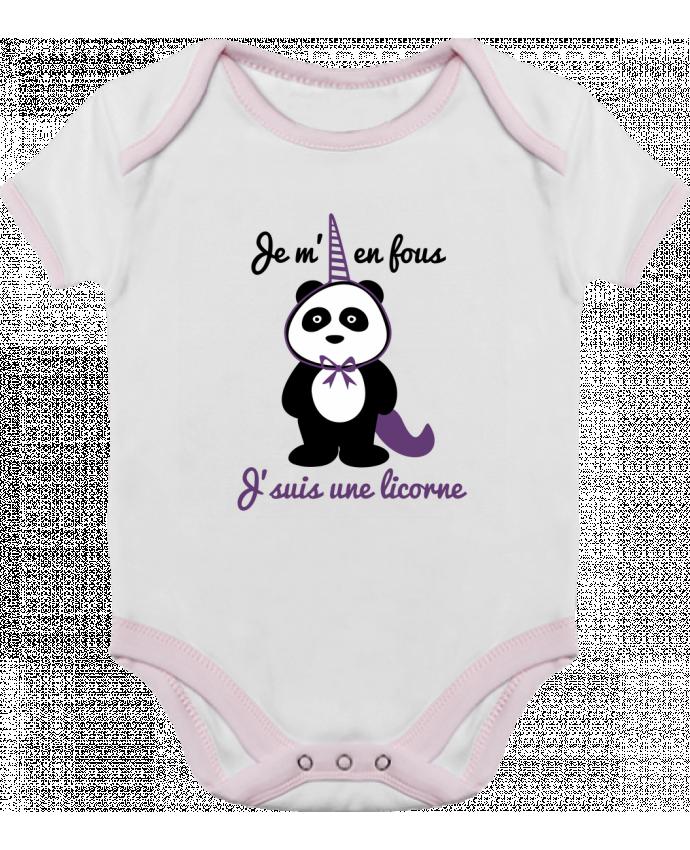 Body Bébé Contrasté Je m'en fous j'suis une licorne, panda par Benichan