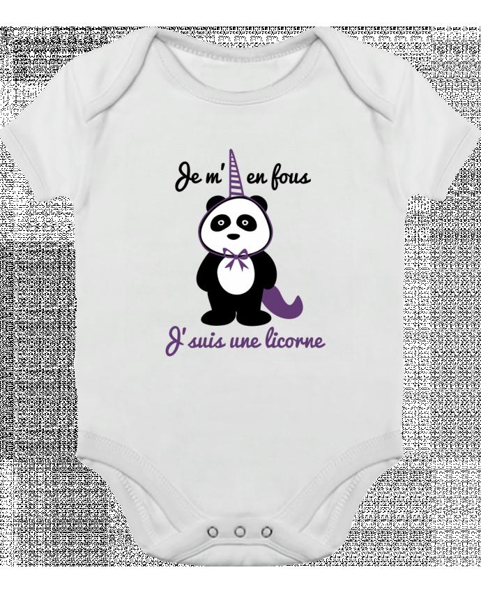 Body bébé manches contrastées Je m'en fous j'suis une licorne, panda par Benichan