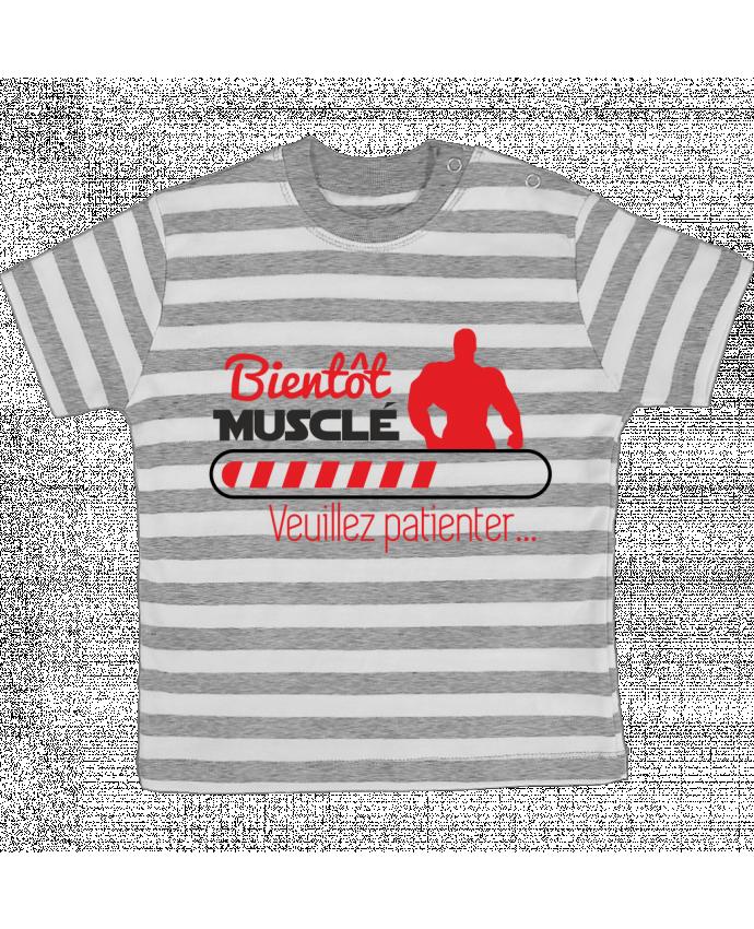 T-shirt Bébé à Rayures Bientôt musclé, musculation, muscu, humour par Benichan
