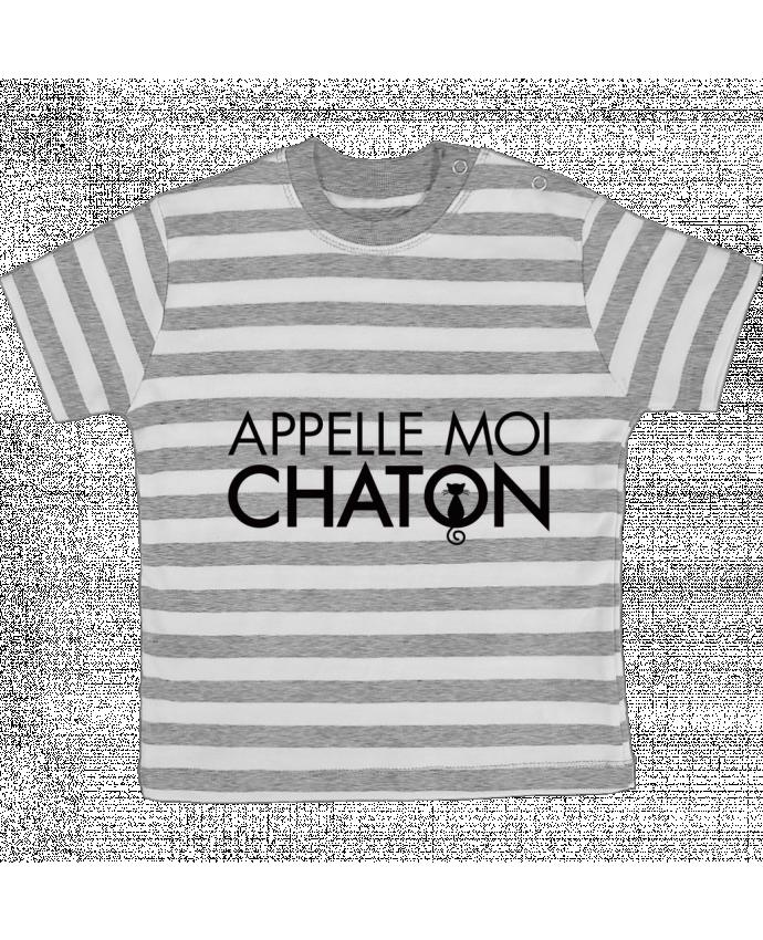 T-shirt Bébé à Rayures Appelle moi Chaton par Freeyourshirt.com