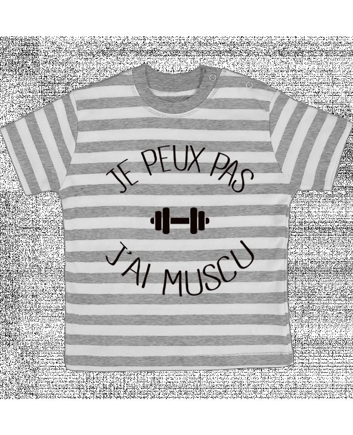 T-shirt Bébé à Rayures Je peux pas j'ai Muscu par Freeyourshirt.com