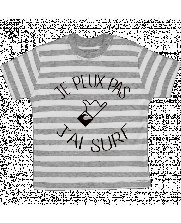 T-shirt Bébé à Rayures Je peux pas j'ai surf par Freeyourshirt.com