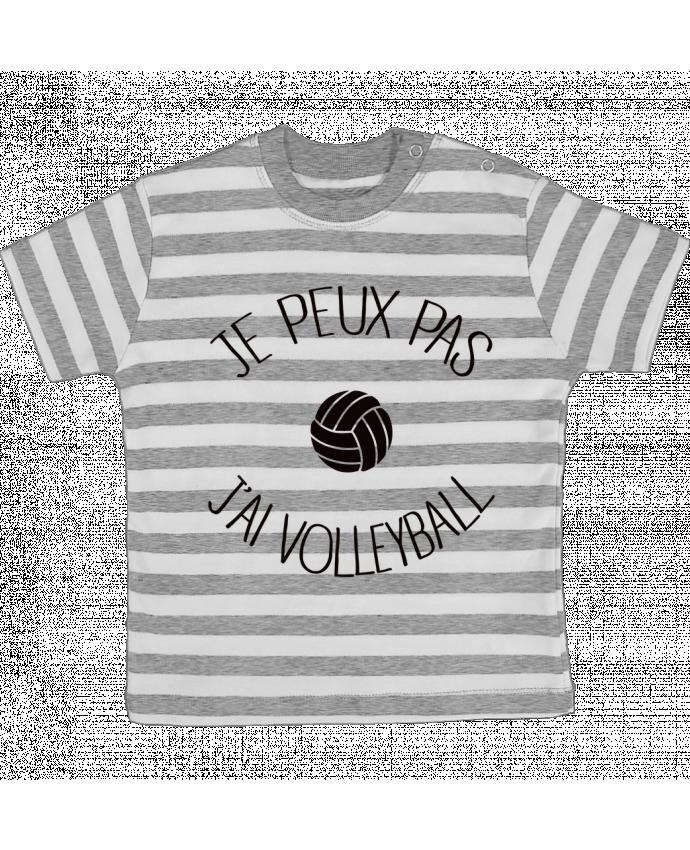 T-shirt Bébé à Rayures Je peux pas j'ai volleyball par Freeyourshirt.com