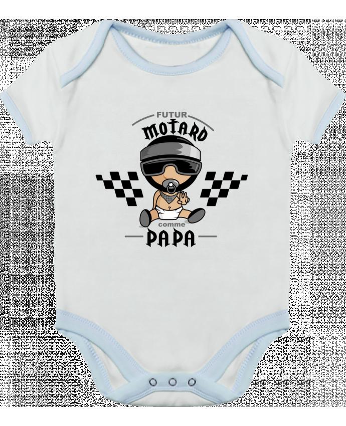 Body Bébé Contrasté Futur Motard Comme Papa par GraphiCK-Kids