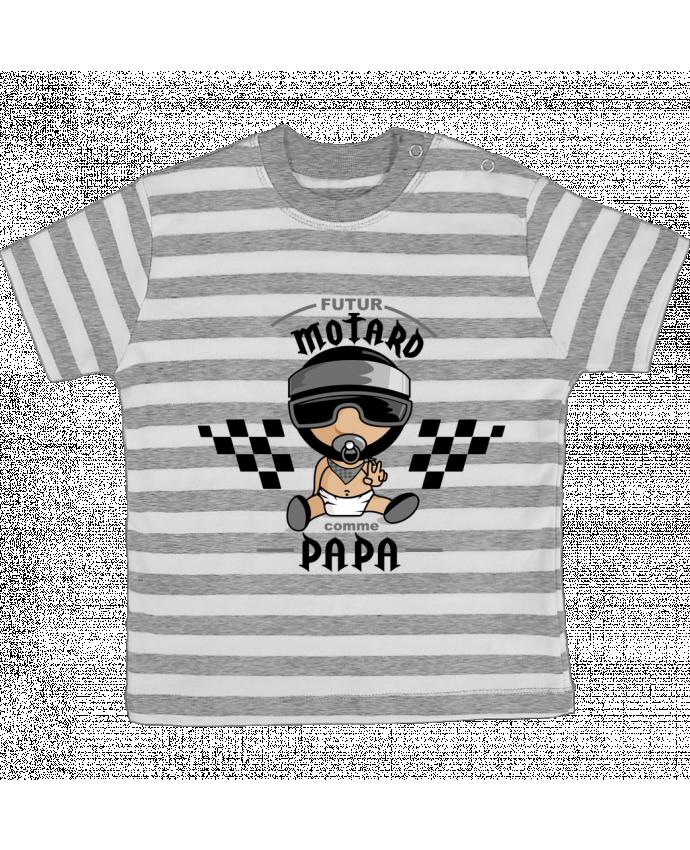 T-shirt Bébé à Rayures Futur Motard Comme Papa par GraphiCK-Kids