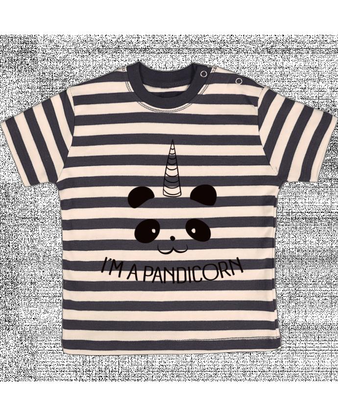 T-shirt Bébé à Rayures I'm a Pandicorn par Freeyourshirt.com