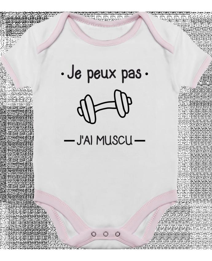 Body Bébé Contrasté Je peux pas j'ai muscu, musculation par Benichan