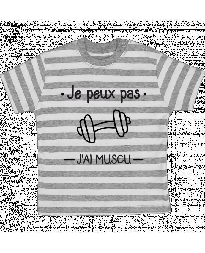 T-shirt Bébé à Rayures Je peux pas j'ai muscu, musculation par Benichan