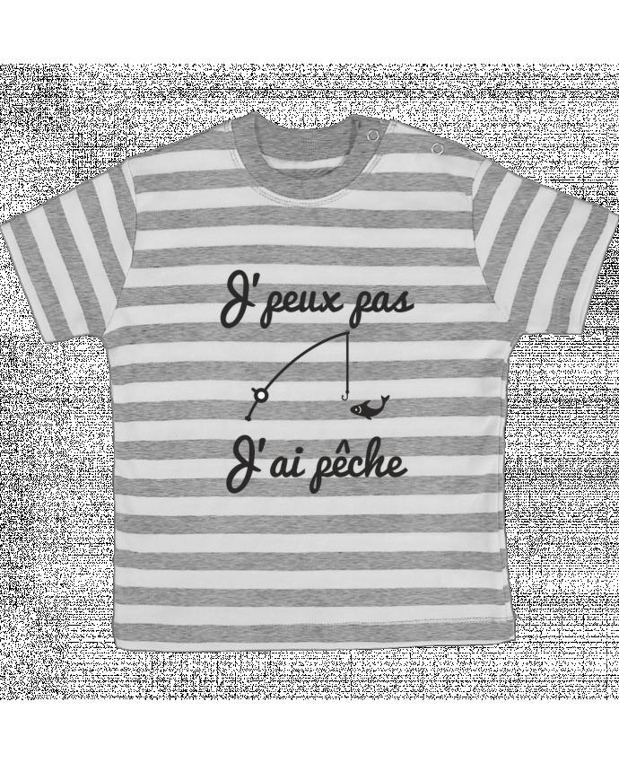 T-shirt Bébé à Rayures J'peux pas j'ai pêche,tee shirt pécheur,pêcheur par Benichan
