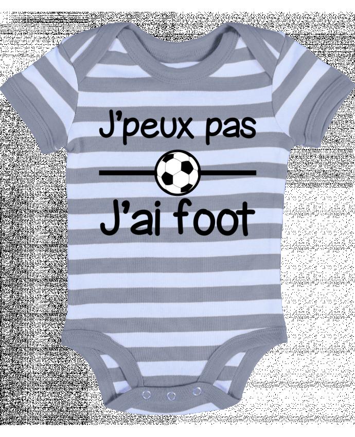 Body Bébé à Rayures J'peux pas j'ai foot , football - Benichan