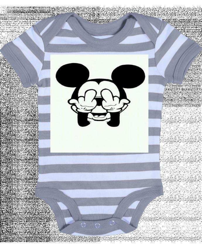 Body Bébé à Rayures Vetement mickey doigt d'honneur - Designer_TUNETOO