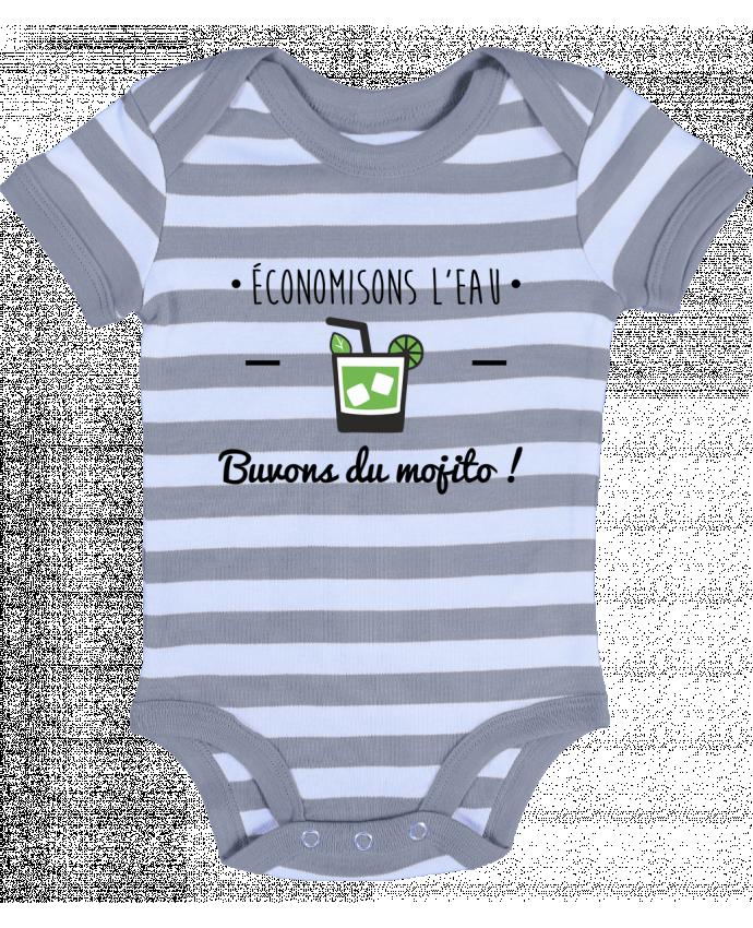 Body Bébé à Rayures Économisons l'eau, buvons du mojito ! Humour , alcool , citations - Benichan