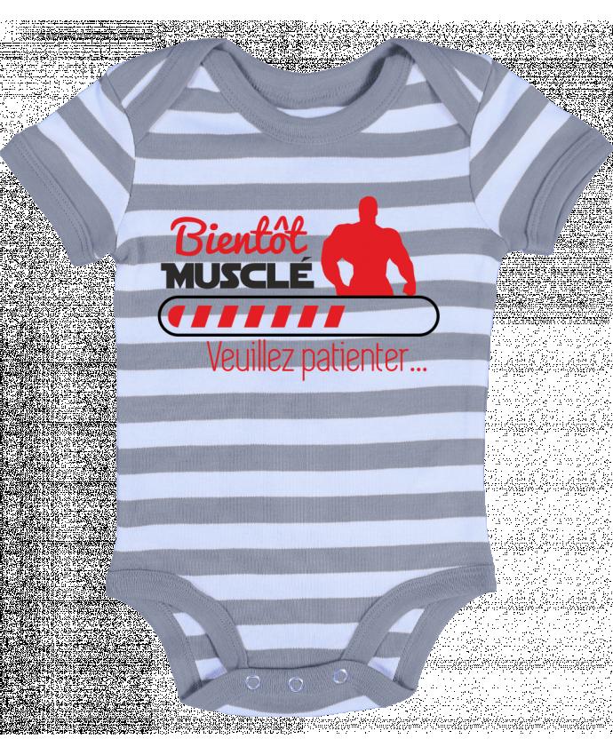 Body Bébé à Rayures Bientôt musclé, musculation, muscu, humour - Benichan