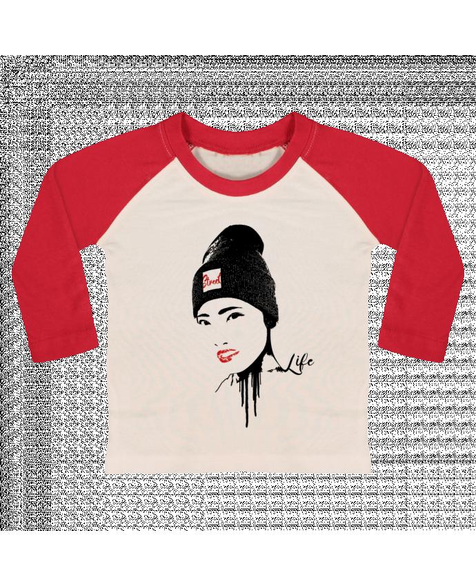 T-shirt Bébé Baseball Manches Longues Geisha par Graff4Art