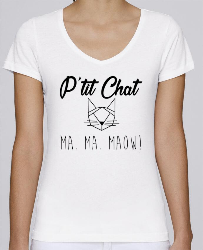 T-shirt Femme Col V Stella Chooses p'tit chat par Zdav