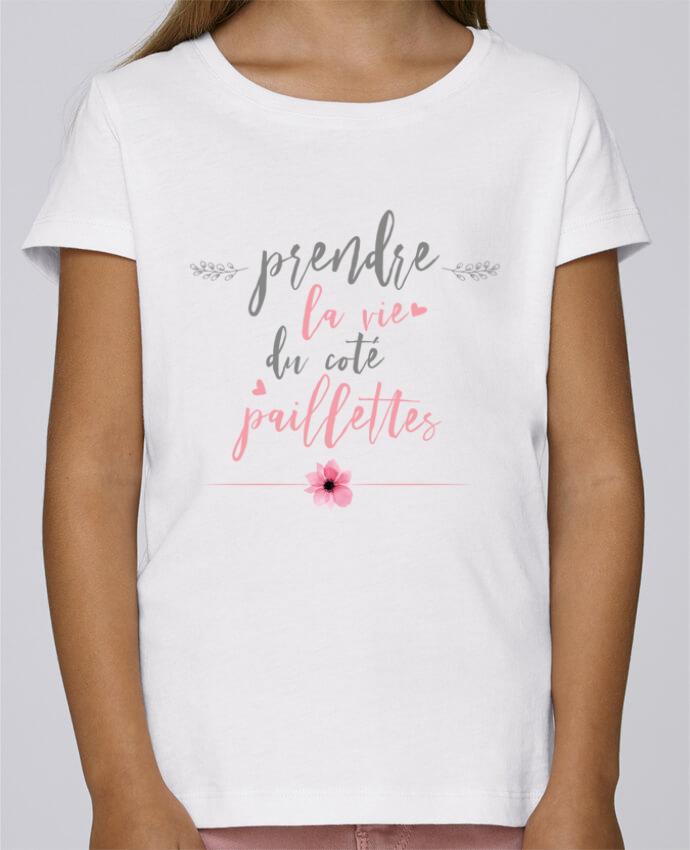 T-shirt Fille Mini Stella Draws Prendre la vie du coté paillettes par tunetoo