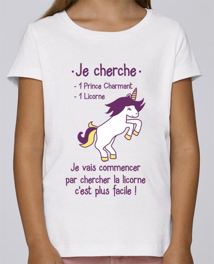 T-shirt Fille Mini Stella Draws Je cherche un prince charmant et une licorne par Benichan