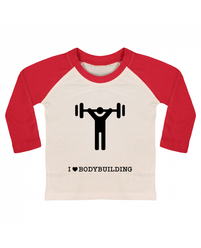 T-shirt Bébé Baseball Manches Longues I love bodybuilding par will