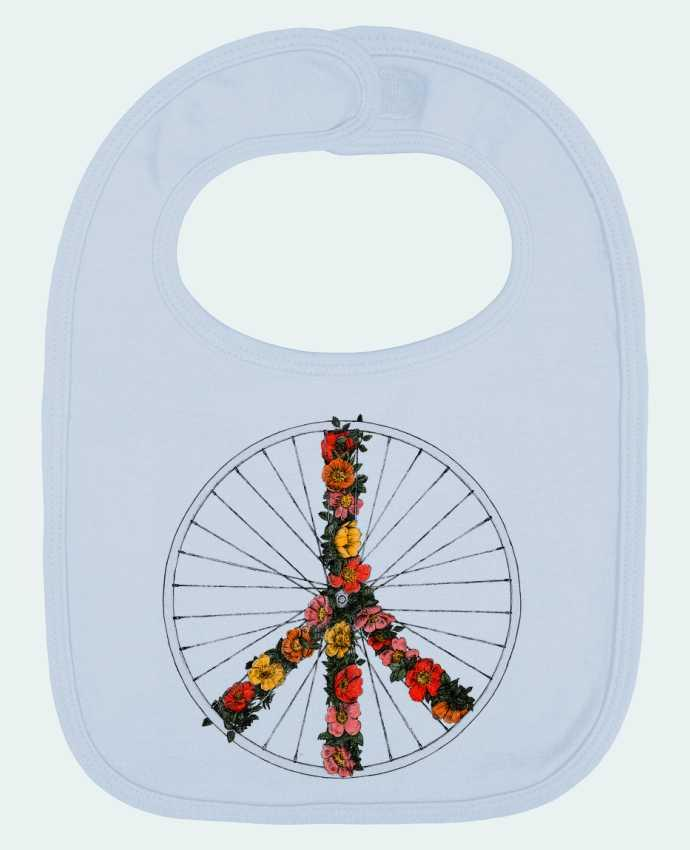 Bavoir Uni et Contrasté Peace and Bike par Florent Bodart