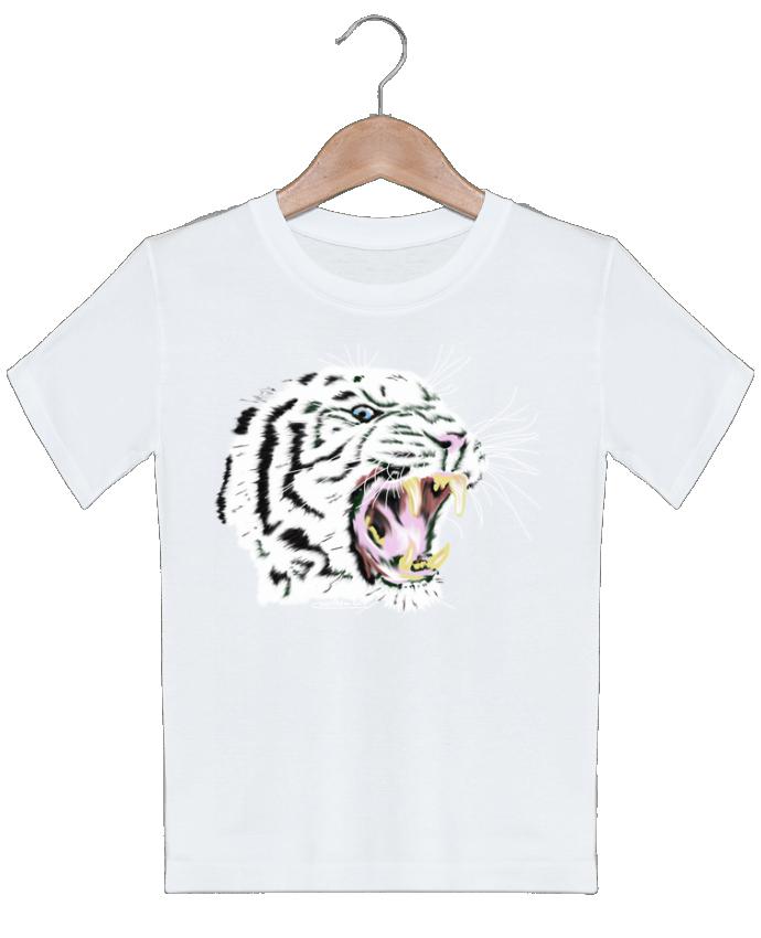 T-shirt garçon motif Tigre blanc rugissant Cameleon