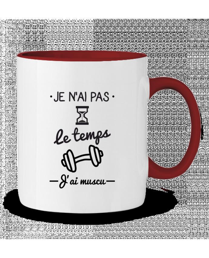 Mug en Céramique Bicolore Pas le temps, j'ai muscu, tee shirt musculation Benichan