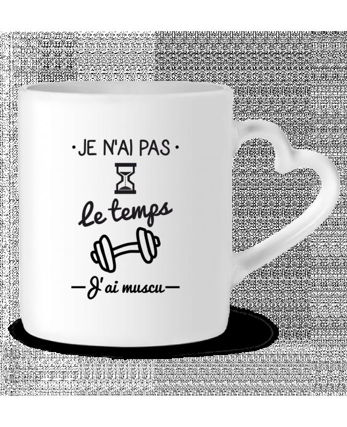 Mug Coeur Pas le temps, j'ai muscu, tee shirt musculation par Benichan