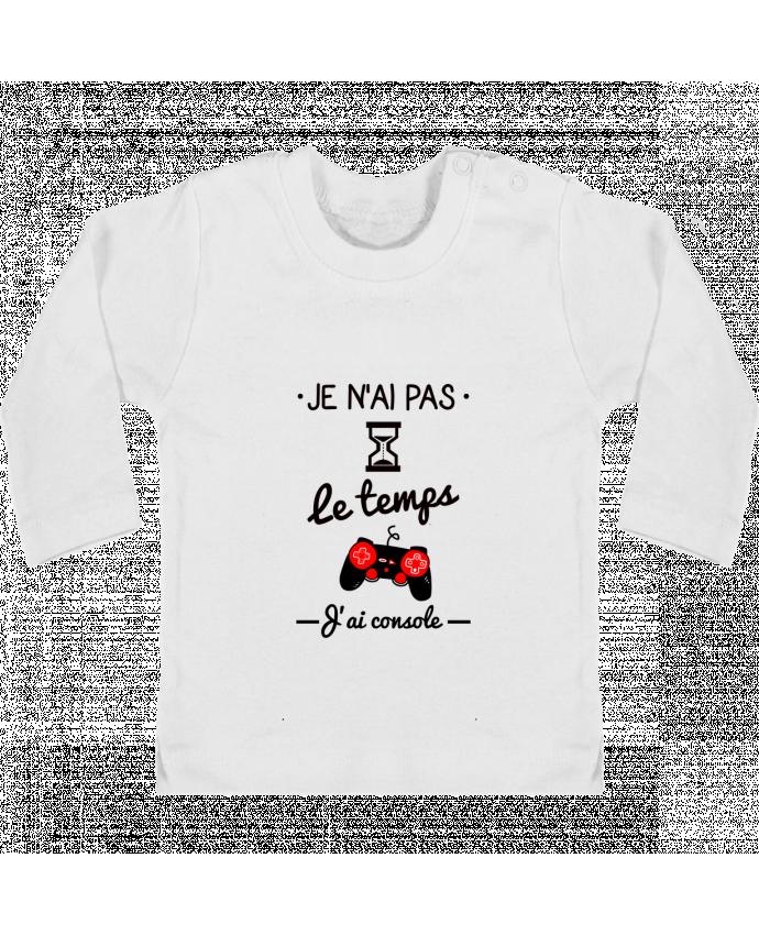 T-shirt Bébé Manches Longues Boutons Pression Pas le temps, j'ai console, tee shirt geek,gamer manches longues du designer Benichan